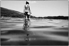 walking in water (gorbot.) Tags: summer blackandwhite bw swimming trossachs roberta f19 lochard leicam8 digitalrangefinder ltmmount voigtlander28mmultronf19 silverefexpro2