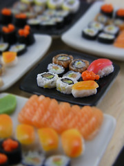 Sushi Weekend #1 (Shay Aaron) Tags: food white black sushi square cuisine japanese miniature raw dish bright handmade maki salmon mini row clear polymerclay fimo tiny eggs nigiri elegant 12th 112 assorted insideout dollhouse petit californiaroll oneinchscale shayaaron