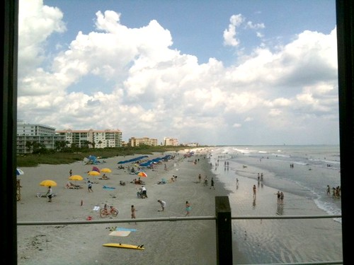 Beach view from Atlantic Ocean Grill, Cocoa Beach Pier