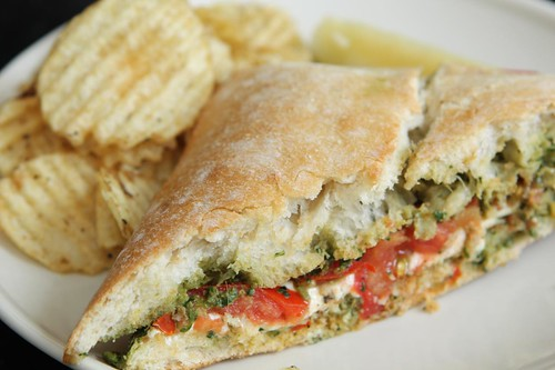 Grilled Mozzarella Cheese on Ciabatta with Tomato and Pesto