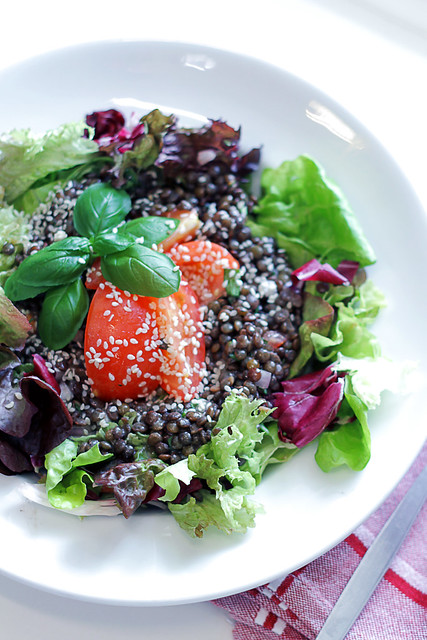 Lentils, Tomatoes Mixed Leaves