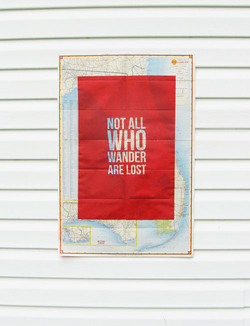 Not-All-Who-Wander-Are-Lost---Screen-Print-on-Vintage-Map---Florida