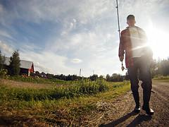 Tarvaspohja, Parikkala (mikasoikkeli) Tags: summer sun selfportrait barn finland countryside fisherman bananas dirtroad rubberboots parikkala threadlesstshirt gopro spinningrod hdhero nokianwildmark