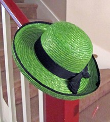 The Green Hat (Enchanticals ~I'm Coming Back) Tags: summer woman black green hat female stairs spring colorful head feminine maroon straw bow excellent chic etsy banister blackribbon accessory greenhat brim blackbow enchanticals enchanticalsetsy greenbeautyforlife