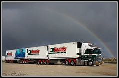 Dennis Transport (Tom O'Connor.) Tags: eddy dennis transport brand new kenworth k200 aerodyrne btriple combination port adelaide river grain silos viterra parking bay lincoln company shark cage diving trailer rainbow dark clouds rain storm truck trucks trucking truckers land down under 2011 canon eos 1000d twin lens kit