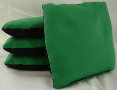 Green & Black Suede Dual Sided Cornhole Bags