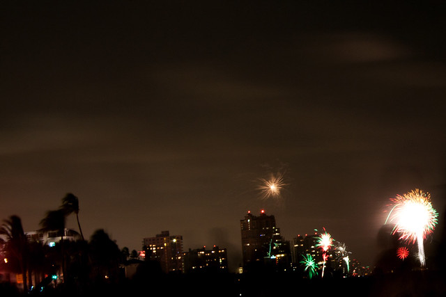 July 4th fireworks in the distance