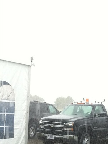 I swear the VAB is there. Somewhere in the rain. #NASAtweetup #sts135