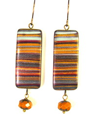 Scrap Clay Striped Earrings with Faceted Pumpkin Czech Glass Beads