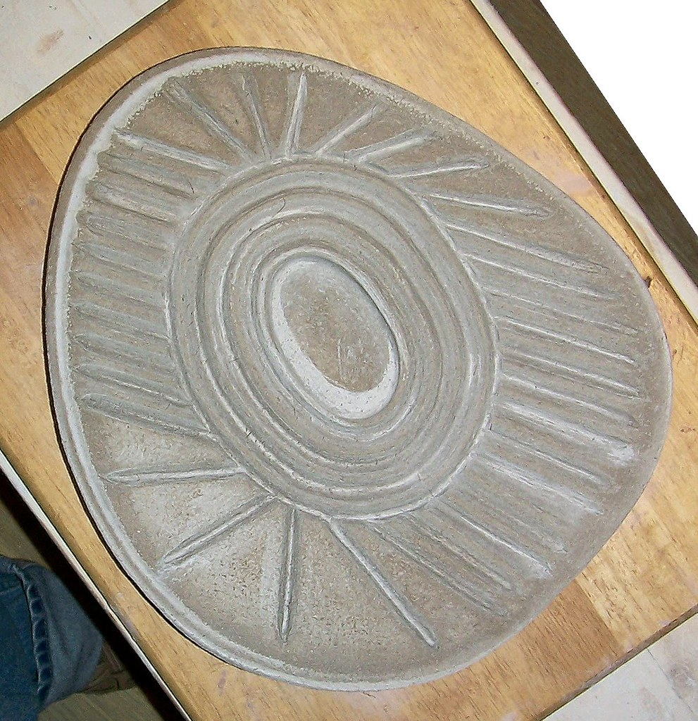 Zen garden tile 2 buff clay body with coconut fibers 6-2011