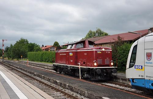 Bei der letzten Fahrt half V 126 dem Dampfzug, in Schliersee ging sie vom Zug