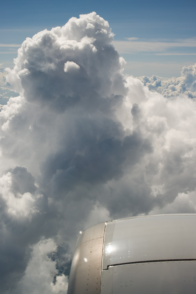 flying over the side of the cumulonimbus
