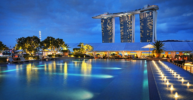 Another View of Marina Bay Sands from the Lantern rooftop bar & pool @ Fullerton Bay Hotel...