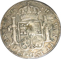 1794 Mexican eight reales with chopmarks reverse