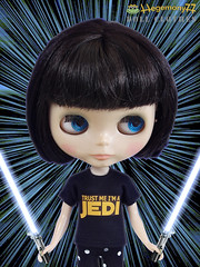 Blythe doll in Star Wars Jedi T shirt with lightsabers and warp speed