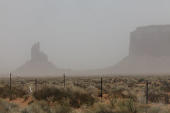 Utah - Monument Valley in a sand storm (Lucie Maru) Tags: usa storm hot southwest west monument rock stone landscape utah sand sandstone rocks plateau nation dry valley monumentvalley reservation rockformations coloradoplateau sandstoneformations ushighway163 sandstrom navajonationreservation sandstonebuttes