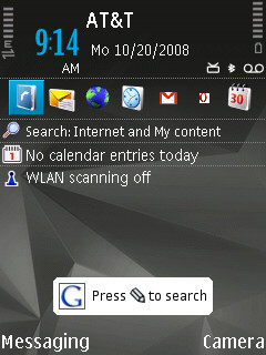 S60e3 (an N95) with quick access icons, and a quick access button to access an on-screen widget!