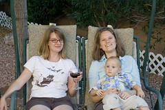 Aunt Tekla and Mommy share a swing with Logan