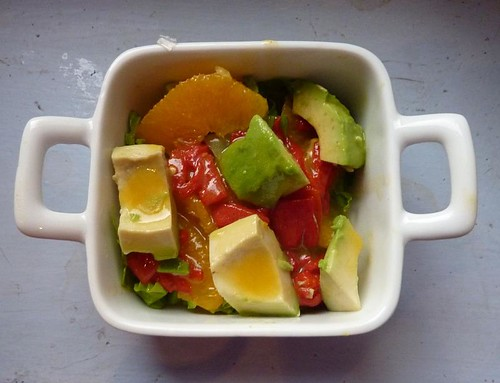 orange, avocado, and roasted pepper salad