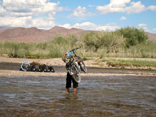 Justin crossing river