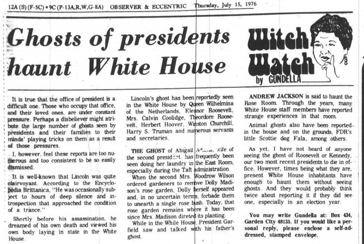 Witch Watch Ghosts of presidents haunt White House Canton Observer July 15, 1976