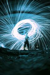 Halo (awill00) Tags: blue night circle long exposure glow mark magic halo 15 fisheye ii 5d glowing swirl 28 mm sparks 15mm f28 circular auora 5d2 5dmkii 5dmk2