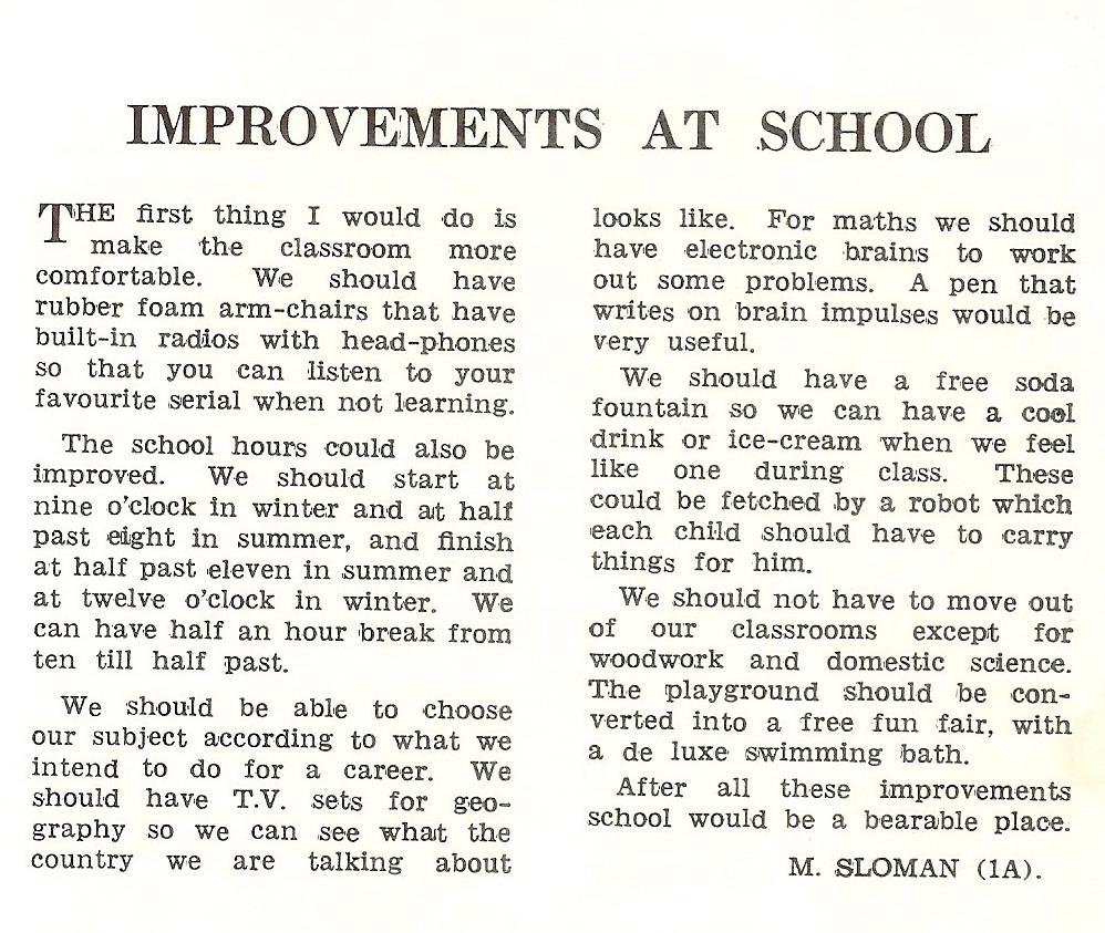 Que Que High School Magazine 1959. Improvements at School by Morris Sloman