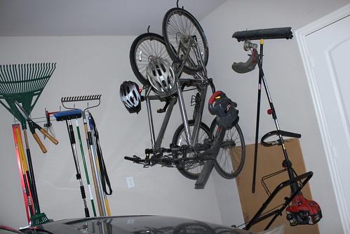 Bikes Hanging in the Garage