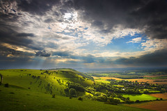 Fulking Escarpment (Alan MacKenzie) Tags: blue england sky green sunshine weather clouds landscape photography sussex dramatic lush southdowns fulking ndgrad luminositymask fulkingescarpment alanmackenzie