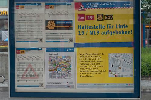 Keine Tram 19 am Hauptbahnhof: Wer einsteigen will, muss zum Hauptbahnhof Süd laufen