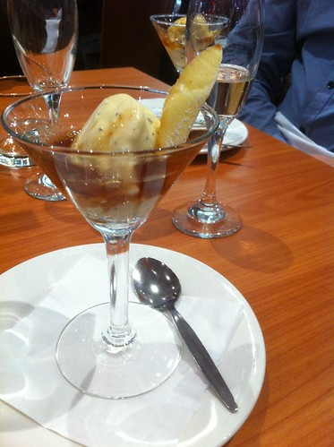 Truffle ice cream with armangac syrup