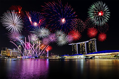 Happy New Year! (Marvin) Tags: city water hotel singapore fireworks rehearsal casino event fullerton mbs marinabay nationaldayparade marinabaysands artscienemuseum nightcbd