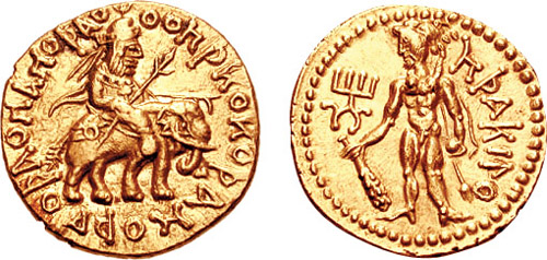 A Unique and Magnificent Kushan Gold Dinar of Huvishka I, Among the Most Remarkable of All Kushan Coins