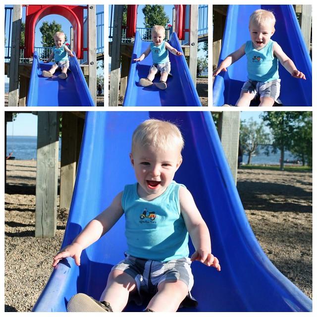 Big Boy Going Down the Slide!
