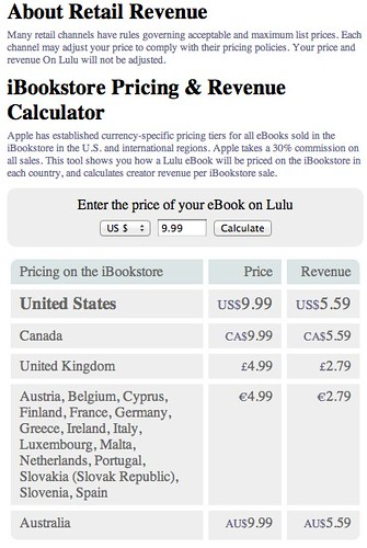 iBookstore Pricing & Revenue Calculator - Lulu.com