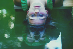 two in one (heart) (laura zalenga) Tags: reflection green me nature wet water face monster river hair scary eyes dress bokeh calm grimace noukka laurazalenga