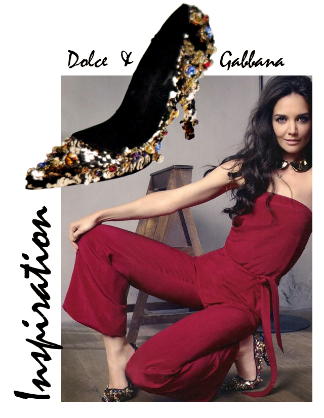 katie-holmes-instyle shoes +dolce and gabbana diy embellished heels pupms - gold shoes