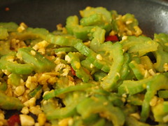 Stir-Fried Bitter Melon (blurry picture) Tags: food 50mm rikenon50mmf14 ricohxrrikenonf14