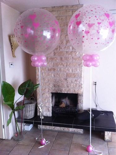 Cloudbuster Rond Transparante Topballon met Roze Hartjes AOP