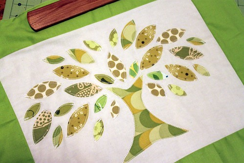 lime leaves quilt block