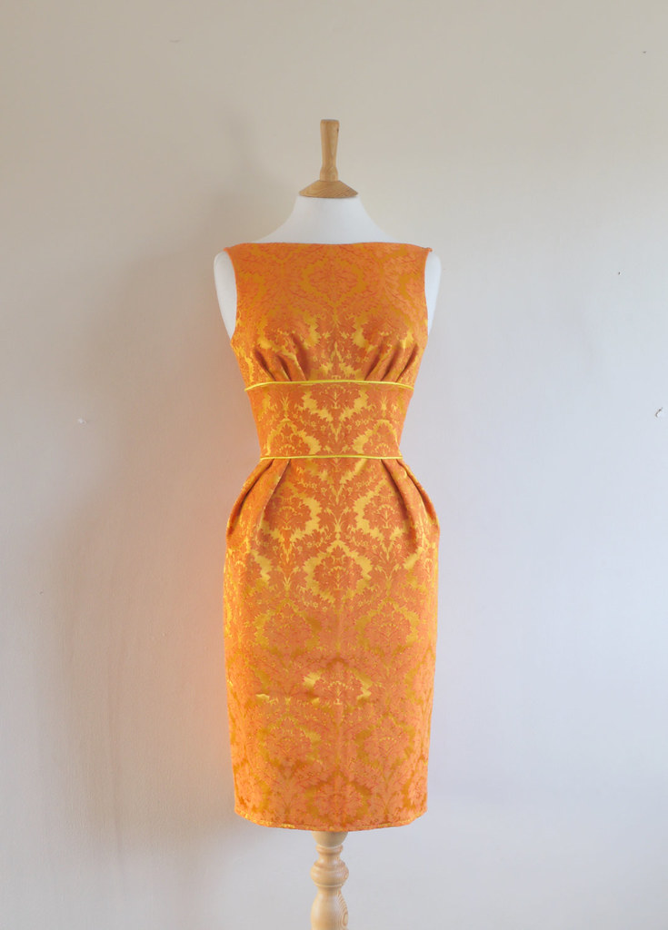 Gold and Amber Vintage Brocade Wiggle Dress made by digforvictory