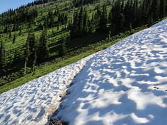 Last remaining snow patch on Crystal Peak trail. Not too bad but don't slip. Only about 60 feet left to cross.