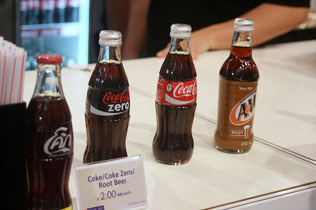 Cute mini bottles of Coke and A&W