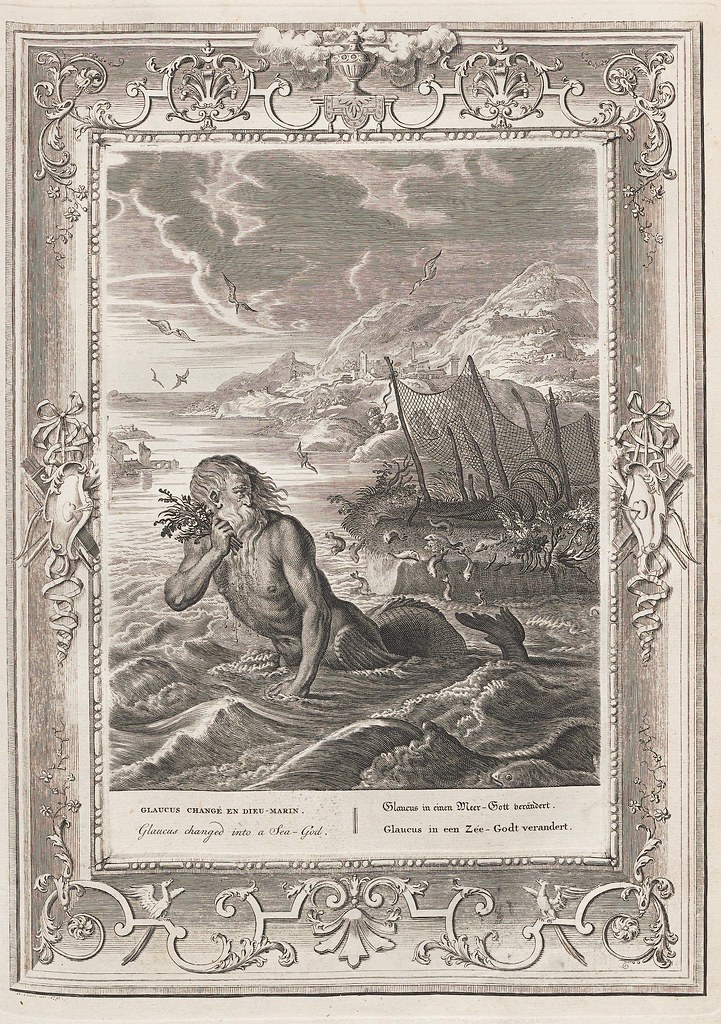 18th c engraving of bearded merman in the ocean