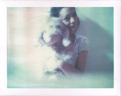 A friendly visitor (emilie79*) Tags: selfportrait cat polaroid180 iduvfilm