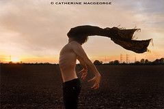 Held Back (CatherineMacgeorge) Tags: life boy sunset sky field clouds scarf movement wind fear bad future topless ribs ploughed arched movingon heldback moveforward