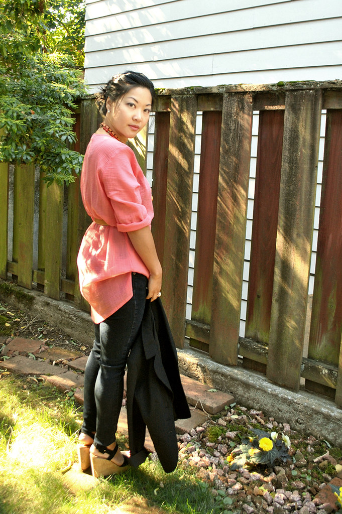 Outfit - Pink for Breast Cancer aWEARness - Black Blazer - Coral Pink Tunic - Black Skinny Jeans - Wedge Sandals