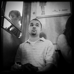The L - 6.3.11 (rpmaxwell) Tags: portrait people urban bw usa chicago public subway publictransportation metro candid lofi theel el il portraiture persons unposed subways wmata thel iphone iphoneography iphoneographie hipstamatic