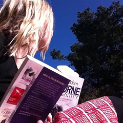 3rd of #frocktober sunshine, book, coffee and another frock on to raise funds for Ovarian Cancer Research