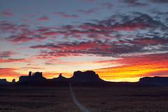 Sky on Fire, Mile Marker 13 (SF knitter) Tags: sunset utah butte monumentvalley mesa milemarker13